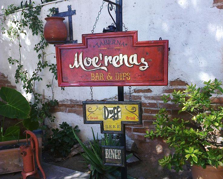 Letrero en madera vintage Restauran Bar de Brunetta Art & Deco