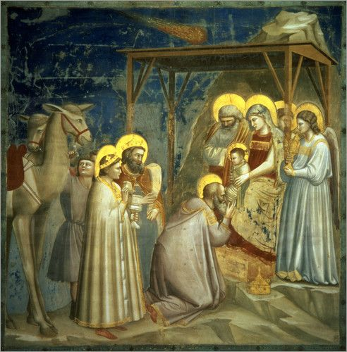 """Adoration of the Magi"" Giotto di Bondone, Florence,Italy artist c 1266 - 1337."