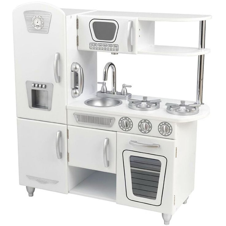 """Kids Pretend Play Kitchen Cooking Toddler Educational Learning Retro Vintage   Product Description:   Theme: Pretend Play Kitchen with moving parts  Item Features:  - Size: 36"""" H x 33"""" W x 14"""" D - Use: Pretend play kitchen cooking - Set includes refrigerator, sink, microwave, oven, stovetop and cordless phone. - Doors open and close, and knobs click and turn for realistic play - Extra storage space above and below the sink to keep toy food organized - Removable sink for easy cleaning"""