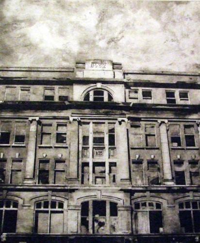 Orpheus by Chris Davis  Collagraph of Orpheus building Belfast / York Street Art college
