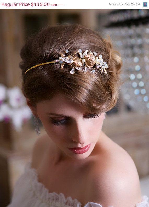 SALE, Beach wedding Starfish Headband, Gold Seashell Wedding Headpiece, Crystal Beach Wedding Hair Accessories, STYLE 136 - Silver or Gold
