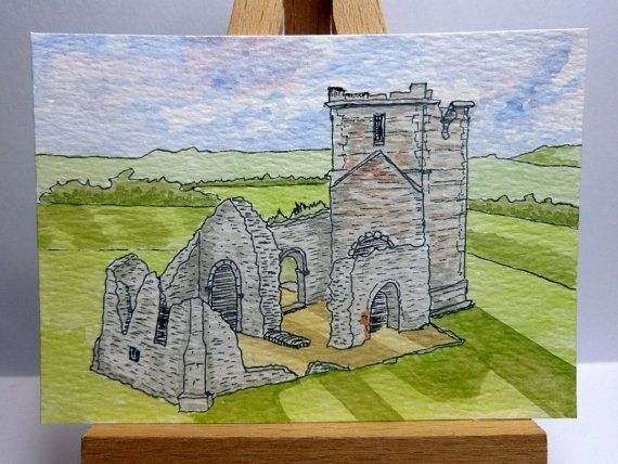 An original ink and watercolour painting of the ruins of Knowlton Church near Cranborne in Dorset, England.  It is ACEO size - 6.4cm x 8.9cm (2.5