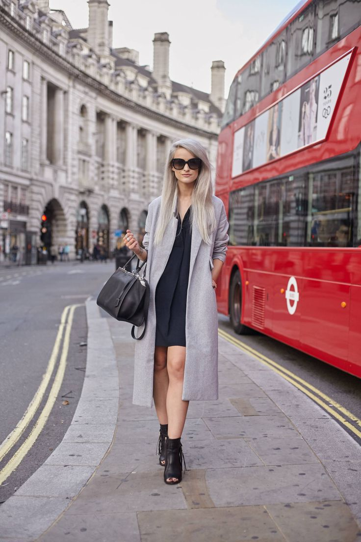 What I wore to London Fashion Week S/S16 Day 1! A long grey oversized coat, Coach black heeled booties, a Fendi 3jours Tote, and a whistles sack dress!