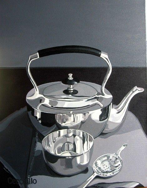 Stephen Cerciello Silver Tea Time acrylic on canvas 14 x 18 $1700.