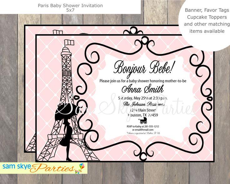 Paris Baby Shower Invitation Printable File PDF Pink And Black Baby Shower