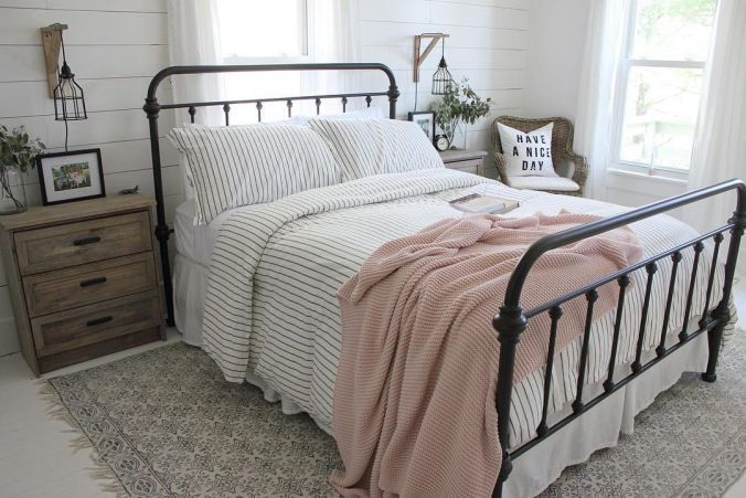 Farmhouse Style Bedroom With Iron Bed Pin Stripes In Grey And White Pink Throw Grey Bedroom With Pop Of Color