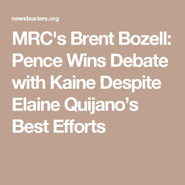 MRC's Brent Bozell: Pence Wins Debate with Kaine Despite Elaine Quijano's Best Efforts