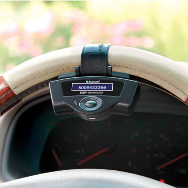 If your car doesn't have bluetooth here's an option: The Steering Wheel Bluetooth Speakerphone - Hammacher Schlemmer