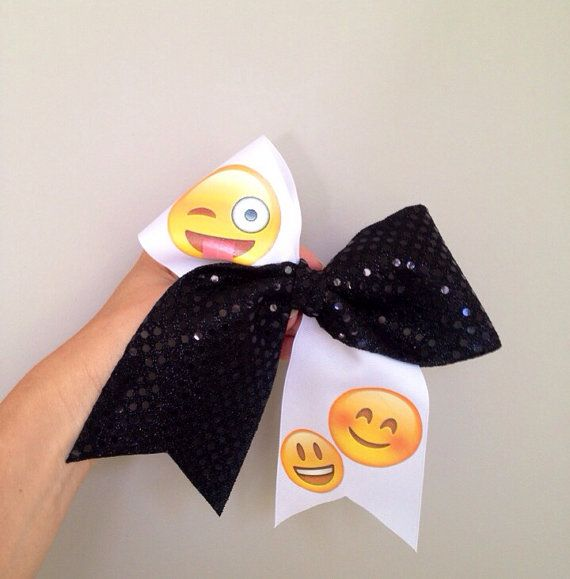 Emoji Smiley Faces Tick Tock Cheer Hair Bow by CharmingFeltedFinds, $13.00