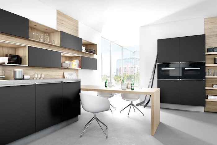 Cuisine Noir Mat Et Bois Elegance Et Sobriete Kitchen Design Black Kitchens Stylish Kitchen