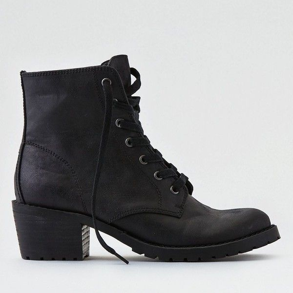 AE Lace-Up Lug Bootie (190 BRL) ❤ liked on Polyvore featuring shoes, boots, ankle booties, black, black boots, black ankle booties, lace up booties, black ankle boots and black ankle bootie
