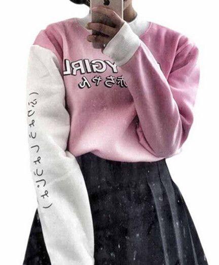 Harajuku Style Women Sweatshirts 2017 New Streetwear Japanese Worlds Printed Long Sleeved Hoodies Casual Pink Black O-neck Tops