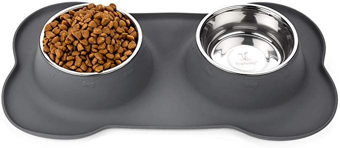 Dogbuddy Dog Food Bowls Non Slip Dog Food Tray With Stainless