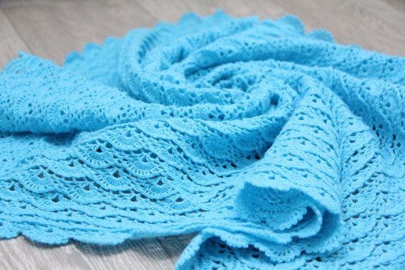 Turquoise crochet baby blanket for boy and girl / от TeetherLand