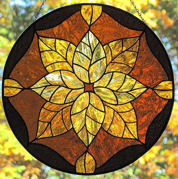 Stained Glass Golden Amber Leaves Round Suncatcher Panel