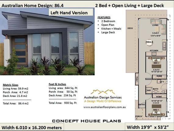 2 Bedroom Tiny House Concept Floor Plans For Sale 930 Sq Feet Or 86 4 M2 Backyard Home Design 2 Bedroom House Plans Bedroom House Plans Small House Design