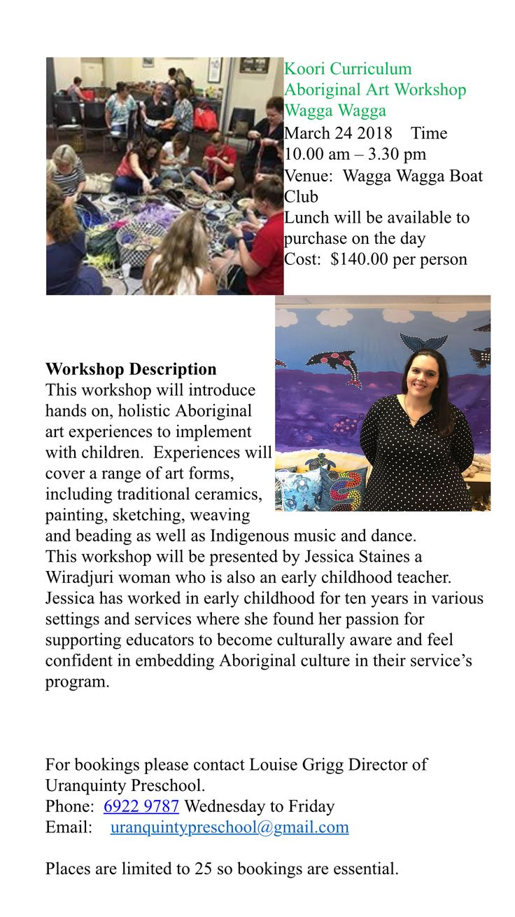 The Koori Curriculum is so excited to be going to Wagga Wagga in March 2018!! Places are limited so be sure to book in Early to avoid disappointment. #kooricurriculum #aboriginalart #aboriginalartist #earlychildhoodeducation #professionaldevelopment