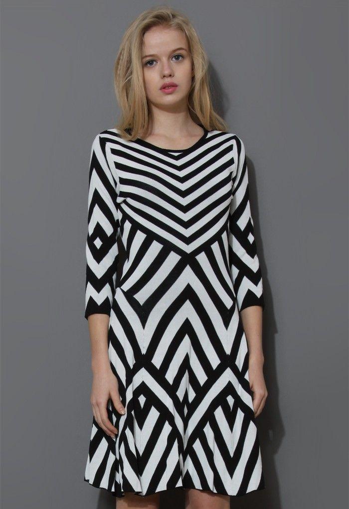 Geo Strips Mid-Sleeve Jersey Dress