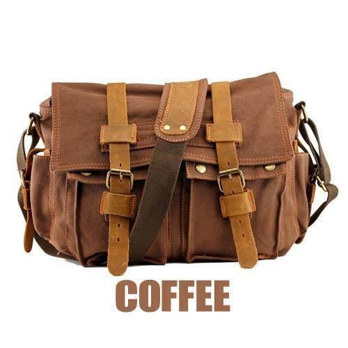 Vintage Style Canvas/Leather Messenger Bag - Opovoo Online Shop  - 5