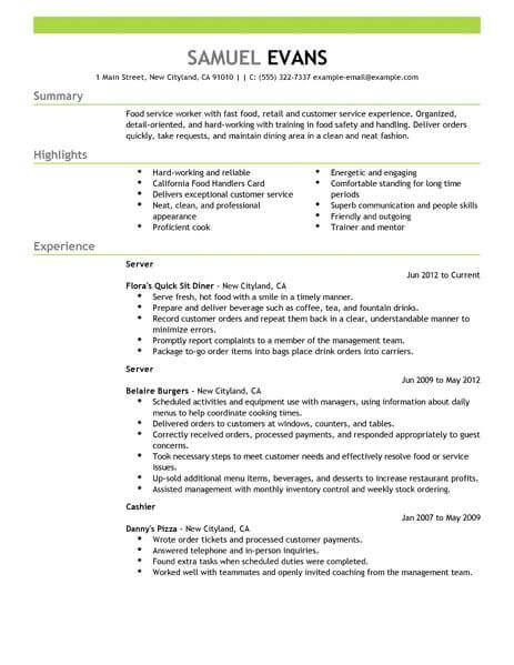 Resume Examples Restaurant Resumeexamples