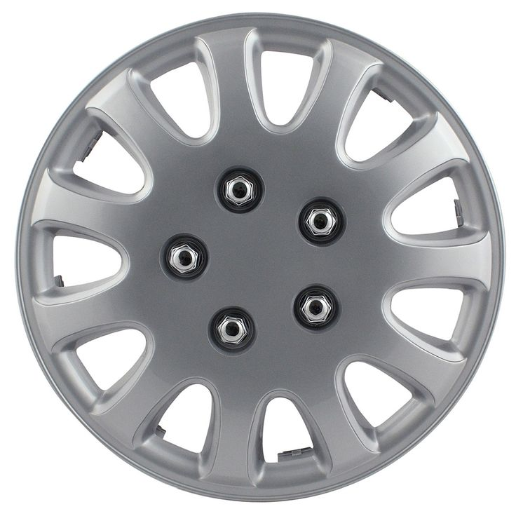 Pilot Automotive WH525-14S-BX 5 Lug Silver 14/ 15-inch Wheel Cover (Pack of 4) (wheel cover 15-inch)