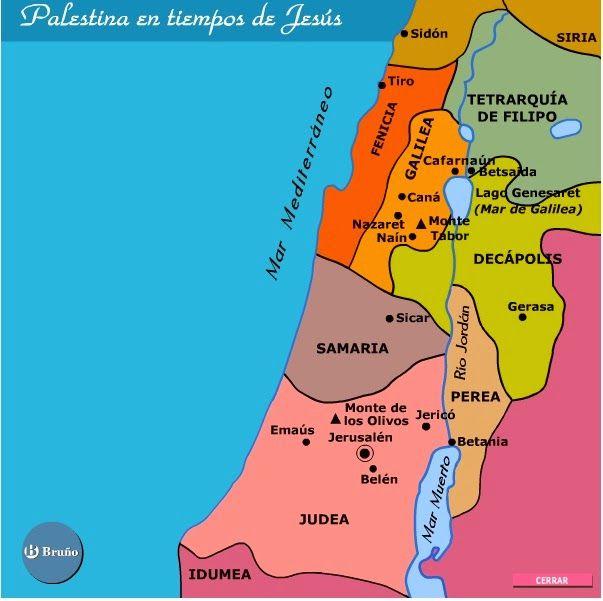 El Carpintero De Nazaret Mapa Geográfico Palestina En Tiempos De Jesús De Jesus Mapas Geograficos Biblia Hebrea