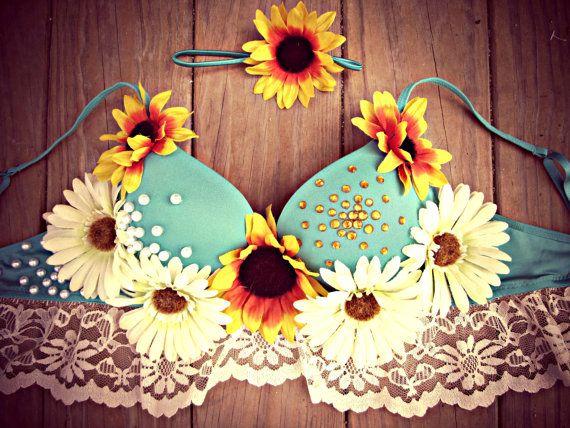 Bohemian Daisy Sunflower Rave Bra by TheLoveShackk on Etsy, $75.00