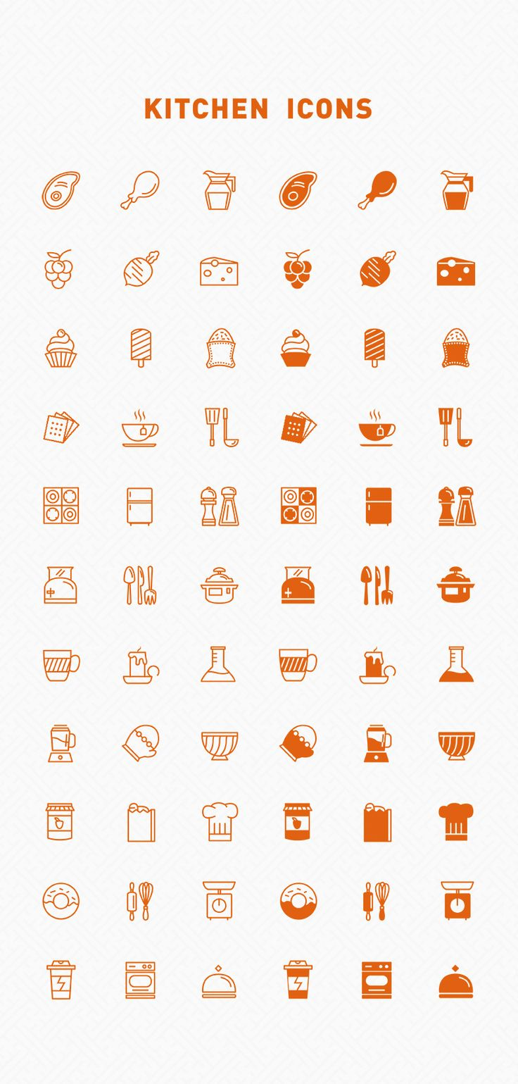 Line & Filled kitchen icons