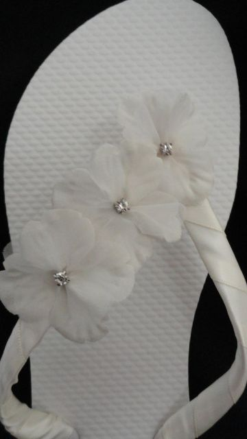"""Islander"" Ivory Bridal Flip Flops"