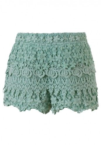 Floral Crochet Shorts in Teal