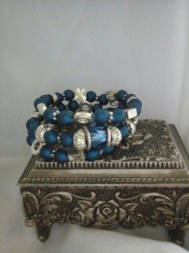 Navy memory wire #jewellery  #hand craft # beading