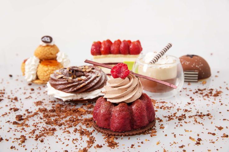 Cafe liegoise, chocolate paris brest, opera mousse dome, chocolate raspberry baba, peach clafoutis tart, caramel gateau st. honore