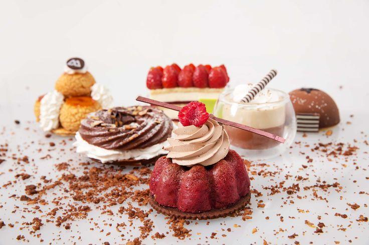 Cafe liegoise, chocolate paris brest, opera mousse dome, chocolate raspberry baba, peach clafoutis tart, caramel gateau st. honore