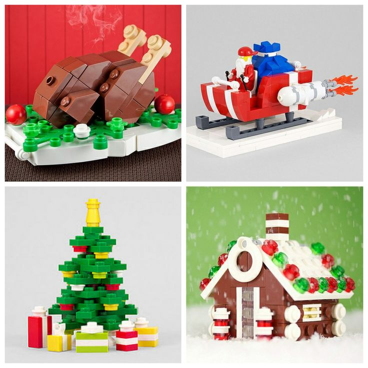 DIY Lego Ornmaments Instructions and Parts' Lists from Chris McVeigh here. NEW DESIGNS this year. He also has builds for more ornaments, cakes slices etc… First seen at How About Orange here.