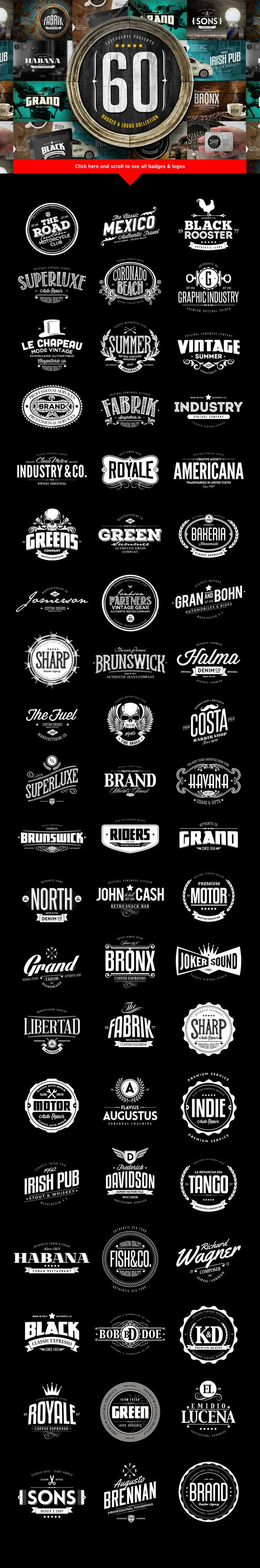 Check out 60 Badges & Logos Collection by Easybrandz on Creative Market