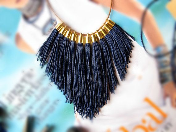 Navy statement FRINGE statement necklace by VickiLeighJewellery, $40.00