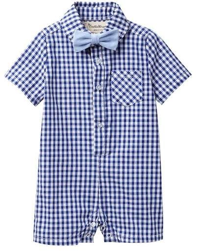 11f13c66fa4 Beetle   Thread Blue Gingham Romper with Bow Tie (Baby Boys)