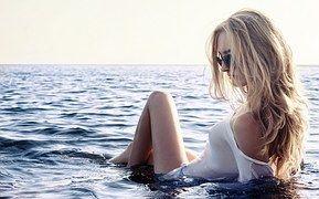 女の子, 海, エロティカ, 空, 眼鏡, ブロンドの, ビーチ