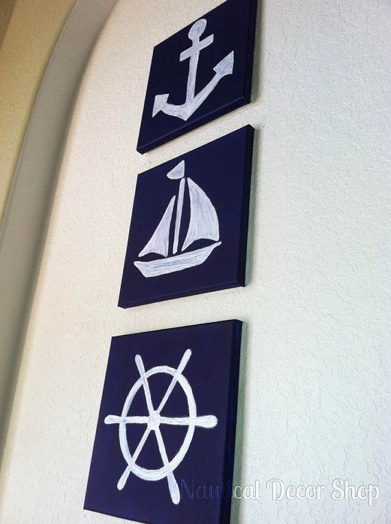 Nautical Nursery Hand Painted Nautical Three Piece Canvas 10x10 Set by NauticalDecorShop, $60.00