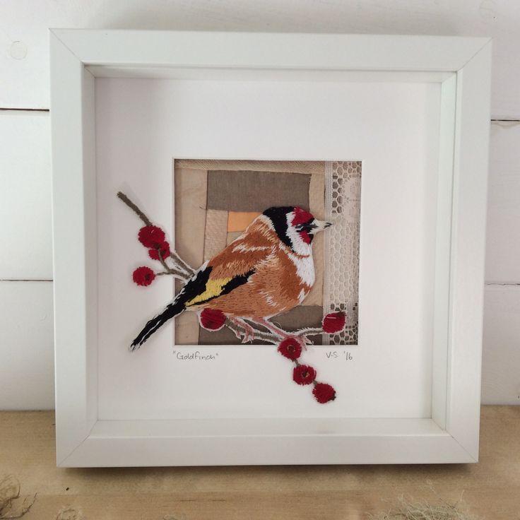 Goldfinch. Hand embroidered bird. Violet Shirran.