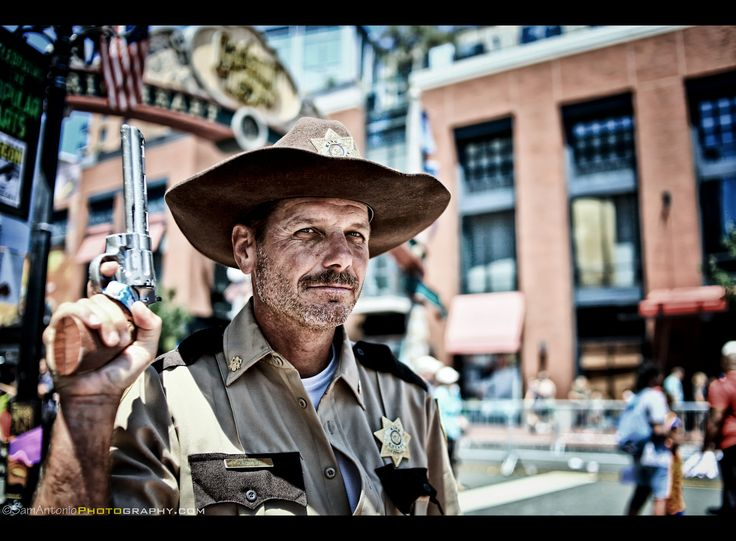 Sheriff Rick Grimes at San Diego Comic Con International 2017 | While walking around the Gaslamp Quarter during San Diego Comic Con International, I ran into Sheriff Rick Grimes. Before he was able to unholster his gun, I shot him with my Canon! For a guy so slow on the draw, I'm wondering how he survived amongst all those walkers?!  San Diego Comic Con International 2017. #SDCC2017