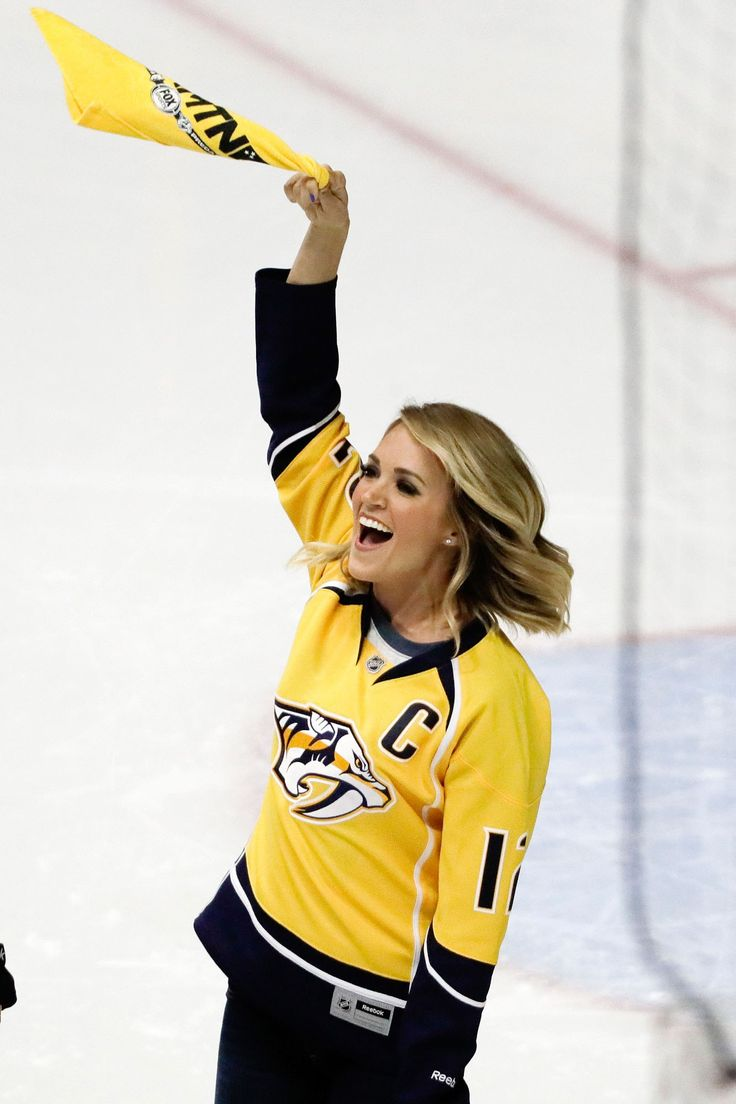 Carrie Underwood cheers on the Nashville Predators;