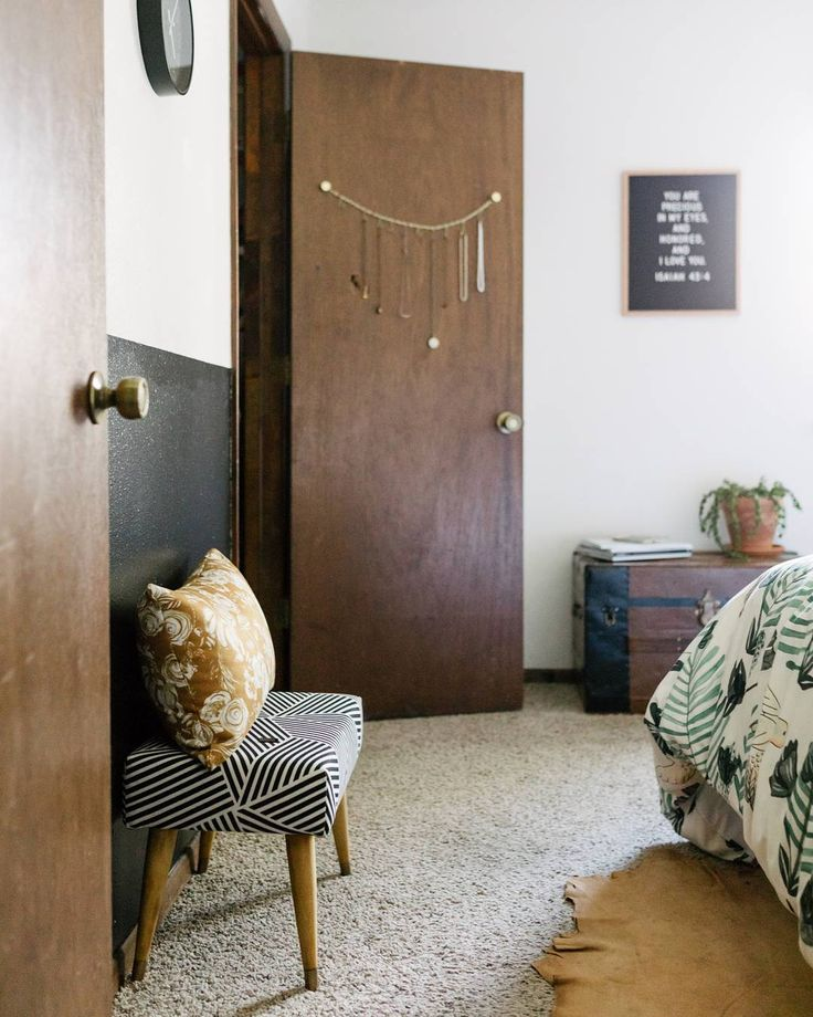 Create a warm and inviting bedroom by keeping your color palette warm and neutral. Using camel as your base color to tie everything together makes this space feel lived-in and approachable.  Duvet: Hum by Dash and Ash Oblong throw pillow: Floral Sketch Ginger by Pattern State