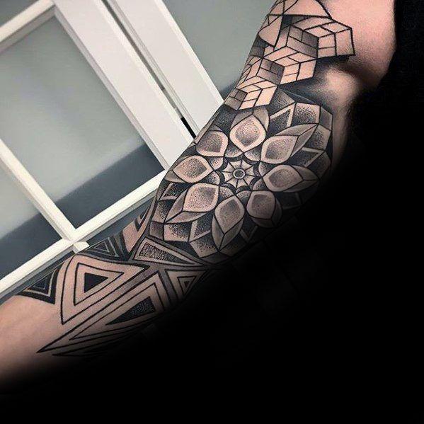 Top 47 Geometric Sleeve Tattoo Ideas 2020 Inspiration Guide Geometric Sleeve Tattoo Geometric Tattoo Sleeve Designs Tattoo Sleeve Designs