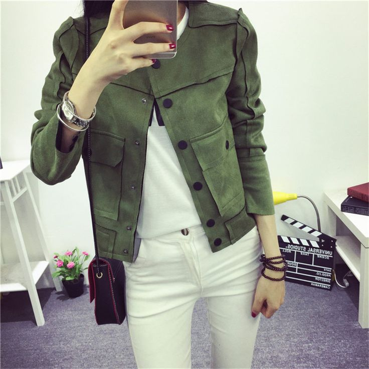 US $17.09 -- 2017 New High Street Ladies Soft Suede Jacket Women Vintage Faux Leather casual short Army Green Pink Outwear Tops Slim Wear aliexpress.com