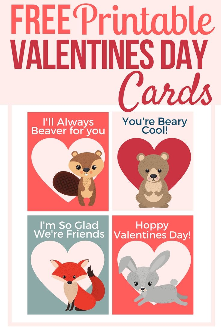 Valentines Day Forest Animal Printable Cards Friends Valentines Day Friends Valentines Best Friend Valentines