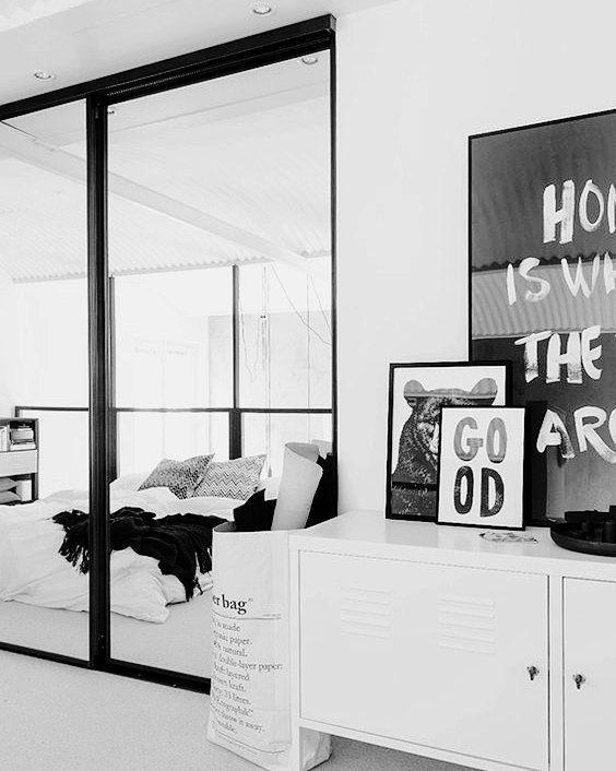Bedroom monochrome inspo#pinterest #space #monochrome #inspiration #homedecor #blackandwhite #interiors