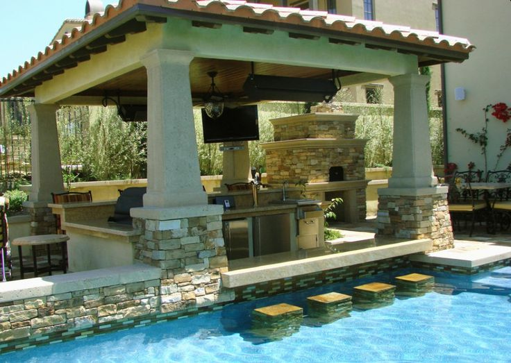 Swimming Pool Excellent Designs With Outdoor Kitchen And Swim Up Bar Blueprint Ornament Ideas Outstanding