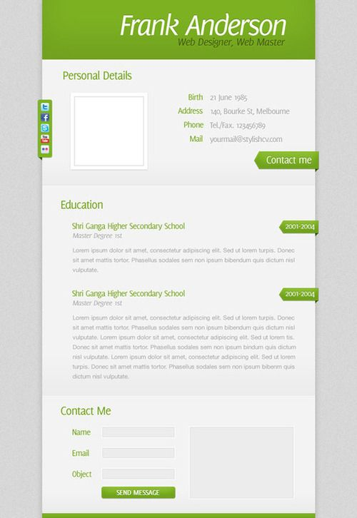 create a clean and simple rsum website design