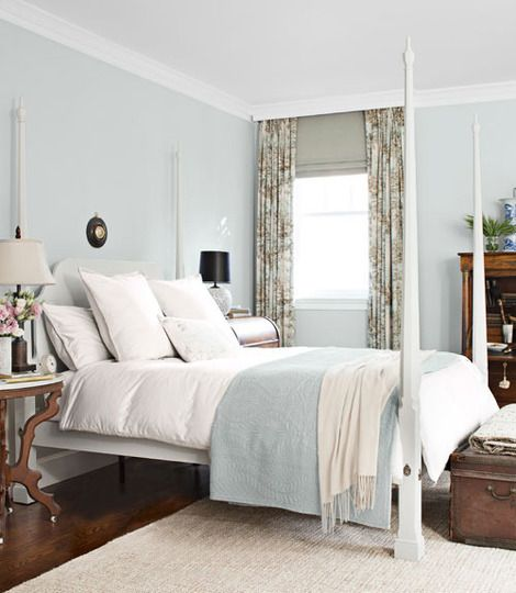 Pale blue and white bedrooms more warmth and detail on walls than the grey